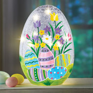 Lighted Crackled Glass Easter Egg Table Decoration - 46412