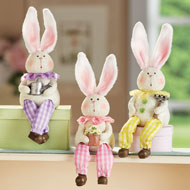 Garden Bunny Hand-Painted Sitters - Set of 3 - 46414