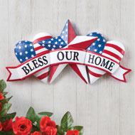 Patriotic Bless our Home Banner-Style Wall Decor - 46423