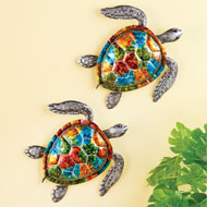 Colorful Sea Turtles Metal Wall Art - Set of 2 - 46443