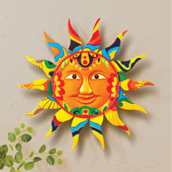 Colorful Patterned Smiling Sun Wall Decor - 46446