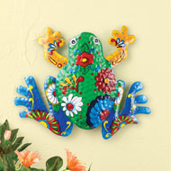 Colorful Floral Print Frog Wall Decor - 46450