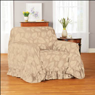 Leaf Pattern Ruffled Furniture Throw Cover - 46466