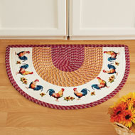 Braided French Country Rooster Slice Accent Rug - 46497