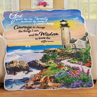 Serenity Prayer Seaside Lighthouse Throw Blanket - 46498