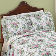 Floral Bouquet Quilted Ruffled Pillow Sham - 46500