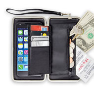 RFID Protected Phone Wallet with Wrist Strap