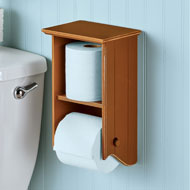 Wooden Toilet Paper Holder with Shelf - 46529