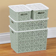 Lilac Lace Design Storage Baskets - Set of 4 - 46530
