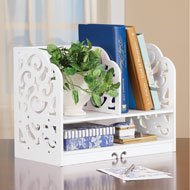 White Scrolling Two-Tiered Book Rack and Storage - 46538