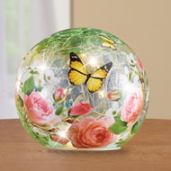 Rose Garden Crackle Glass Lighted Ball - 46542