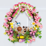 Garden Picket Fence Floral Wreath with Plaid Bow - 46558