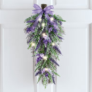 Lighted Lavender Swag with Matching Bow - 46562