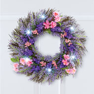 Lighted Lavender Floral LED Wreath - 46566