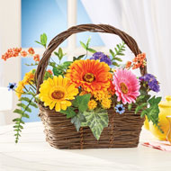 Colorful Gerbera Daisy Basket Tabletop Centerpiece - 46572