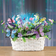 Fiber Optic Butterfly Floral Basket Tabletop Accent - 46574