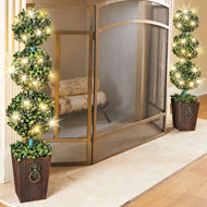 Lighted Boxwood Topiary with Faux Wooden Planter - 46576