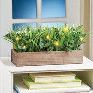 Lighted LED Faux Grass in Wooden Planter - 46581