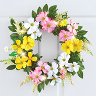 Dogwood Floral Spring Wreath with LED Lights - 46598