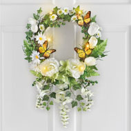Lighted White Garden and Butterfly Wreath - 46602