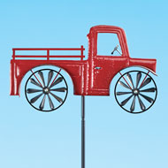 Vintage Red Pickup Truck Spinner Yard Stake - 46603