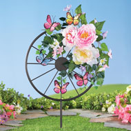Floral Wagon Wheel Garden Stake with Butterflies - 46605