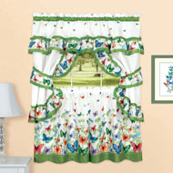 Butterfly Ruffled Tier Window Curtain Set - 46621