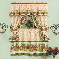 Apple Orchard Ruffled Tier Window Curtain Set - 46622