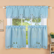 Scroll Embroidered Cutout Window Curtains - 46624