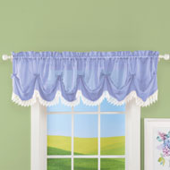 Sheer Leaf Lace Trim Window Valance - 46625