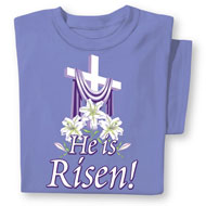 He is Risen Easter Cross Religious T-Shirt - 46626