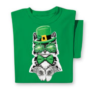 St. Patrick's Cat T Shirt with Crew Neckline - 46627