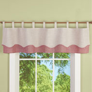 Gingham and Burlap Tab Top Window Valance Curtain - 46635