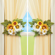 Yellow and White Daisy Tie Backs - Set of 2