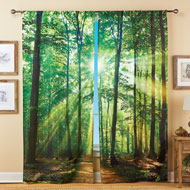 Forest Sunshine Scene Window Drapes - Set of 2