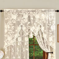 Elegant Rose Lace Window Curtain Topper - 46645