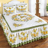 Yellow Daisy Butterfly Ruffled Bedspread - 46648