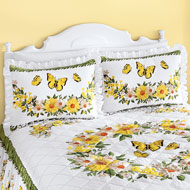 Yellow Daisy Butterfly Ruffled Pillow Sham - 46649
