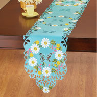 White Daisies with Blue Background Table Linens - 46666