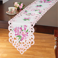 Embroidered Pink Lily Table Linens - 46667