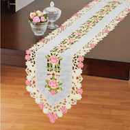Rose Organza Cutout Table Linens - 46674