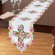 Embroidered Lily Cutout Cross Table Linens - 46676