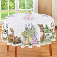 Easter Garden and Bunnies Printed Tablecloth