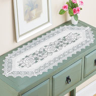 Embroidered Rose and Lace Dresser Scarf - 46687