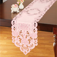 Wild Roses Embroidered Cutout Table Linens - 46689
