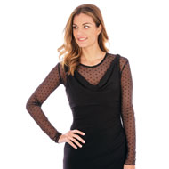 Elegant Mesh Polka Dot Cami with Long Sleeves - 46706