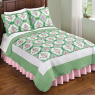 Diamond Flower Woven Patchwork Quilt - 46710