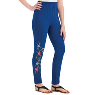 Embroidered Floral Design Jersey Knit Leggings - 46714