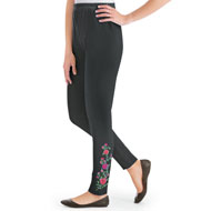 Rose Floral Embroidered Jersey-Knit Leggings - 46716