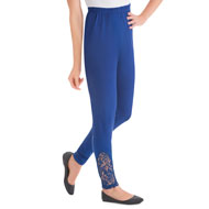 Lace Accent Ankle Leggings with Elastic Waistband - 46717